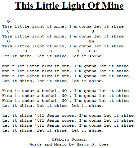 This Little Light Of Mine - Chords and Lyrics